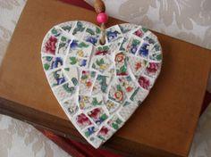 Valentines Gift Vintage China Mosaic Heart by BigGirlSmallWorld