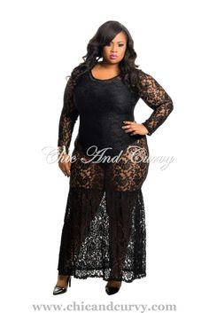 New Arrival  New Plus Size Bodycon Full Lace Mermaid Gown in Black  available at: http://www.chicandcurvy.com/newarrivals/product/10356-new-plus-size-body-con-dress-in-black-1x-2x-3x