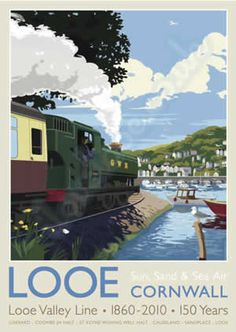 Looe - Sun Sand & Sea Air - Looe Valley Line , [post_tags Posters Uk, Train Posters, Railway Posters, Looe Cornwall, Cornwall England, Yorkshire England, Yorkshire Dales, British Travel, Tourism Poster