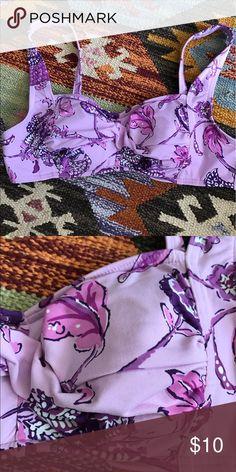 Purple Bikini Top Sewn in padding, never worn Lands' End Swim Bikinis