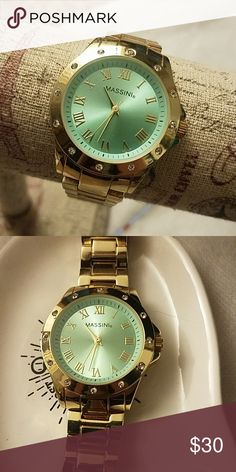 138cabd934a6 Gold and Green Watch ⌚Mint Green Faced Watch with Gold Band - stainless  steel back