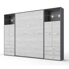 Make the most of your square footage with this versatile Contempo Murphy bed with storage cabinets, a convertible design that lets you transform any room in your home into a guest room at a moment's notice. Adjustable Beds, Adjustable Shelving, Bed Storage, Locker Storage, Extra Storage, Storage Ideas, Modern Murphy Beds, Murphy Bed Plans, Murphy Bed Couch