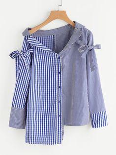Blusa de cuadros con hombros asimétricos con detalle de cinturón -Spanish SheIn(Sheinside)