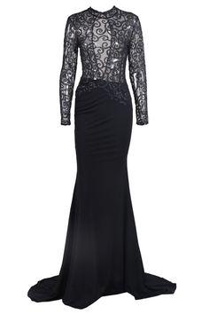 Honey Couture Black Mesh Sequin Formal Dress