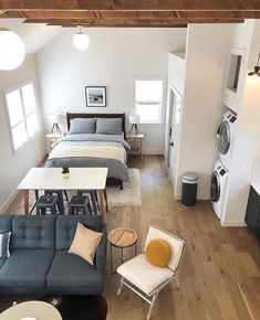 Looking for a sweet place to stay in Portland? Check out the new Woodlawn Retreat Airbnb designed by This beautiful ADU includes a kitchen, laundry, sleeping loft and our Alto and Isle lights. Studio Apartment Floor Plans, One Room Apartment, Studio Apartment Layout, Small Apartment Interior, Small Apartment Living, Studio Apartment Decorating, Tiny Studio Apartments, Studio Apartment Kitchen, Studio Layout