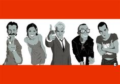 Interpretación artística del cartel de la película Trainspotting por el artista Rubén Paniagua. Disponible en varios tamaños y soportes.