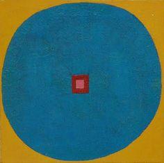 "Elizabeth Murray Yellow Blue Center Fall, summer 1974, oil on canvas, 15 x 15"""