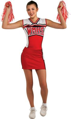 Glee Halloween Costume Cheerio for Teens William McKinley High School cheerleader Cheerios costume for teen girls. includes: tank top, skirt, shakers and inflatable belly. costume is teen girls standard size.v$34.30
