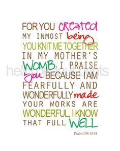 Psalms 139:13-14 - Pink Hugs & Blessings