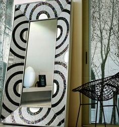 With showrooms in Milan and New York, SICIS The Art Factory does things with mosiacs for both residential and commercial spaces that are con. Mirror Mosaic, Mirror Tiles, Beveled Mirror, Mosaic Art, Mosaic Glass, Mosaic Tiles, Stained Glass, Sicis Mosaic, Mosaic Madness