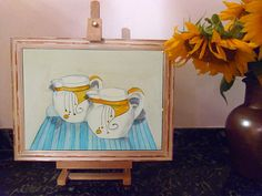 Vintage Art Original Drawing by Paul Woods pencil Drawing Art Deco Jugs yellow and blue study for etching signed