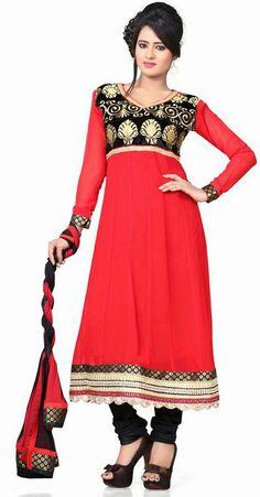 USD 73.98 Red Embroidery Faux Georgette Anarkali Salwar Kameez 27805