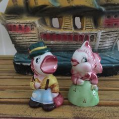 Vintage PY Mr and Mrs fish salt pepper