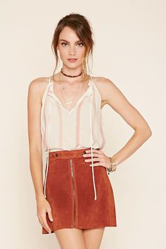 Forever 21 Contemporary - A woven cami top featuring vertical stripes, a self-tie keyhole front, square neckline, sleeveless cut, side slits, and a flowy silhouette. #f21contemporary