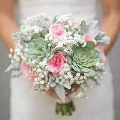 Baby's breath, succulents, dusty miller and pink garden roses