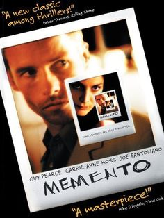 Memento (2000) - great movie about not remembering anything and working off clues and tattoos to solve his life 9 It's a great movie for many reasons. Excellent cinematography captures the confusion of the protagonist Lenny for the viewers as well. Raises question about the nature of memory, truth, reality, perception.