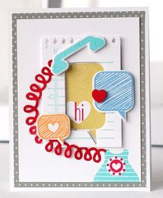 Phone Chat Card by Betsy Veldman for Papertrey Ink (August 2013)