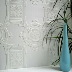 Early Victorian  (RD01600) - Anaglypta Wallpapers - A fine and deeply textured blown vinyl wallcovering on a peelable, flat backed paper suitable for painting. Classic tile effect textured Victorian design. This wallcovering is white and is designed to be painted a colour of your choice. (wallpaperdirect.com)