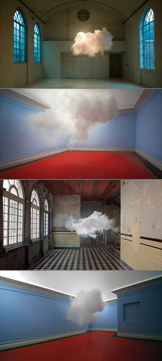 Real indoor clouds created by artist Berndnaut Smilde with a fog machine.