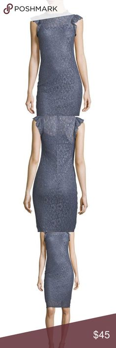 Neiman Marcus Lace Mock Neck Sleeveless Dress Steel Blue, Mock neckline, ruffle shoulders, straight hem.  There is a certain Sophistication about this dress that I absolutely love! Neiman Marcus Dresses