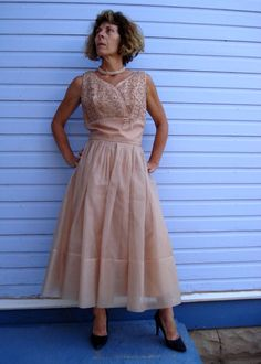 Vintage 1960s Cocktail Dress Tan Chiffon 2013451 by bycinbyhand, $95.00
