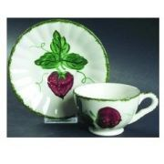 Blue Ridge Southern Pottery Wild Strawberry Footed Cup & Saucer Set, Fine China