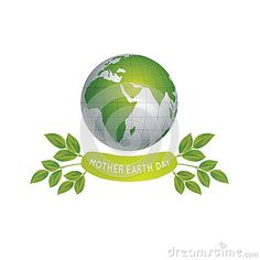 An illustration for earth day, consist of green globe earth with map inside it, green leaves and text Mother Earth Day.