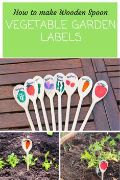 How to make Wooden Spoon vegetable garden labels with thimble and twig. Children… How to make Wooden Spoon vegetable garden labels with thimble and twig. Creative garden ideas for children. Garden Types, Organic Vegetables, Growing Vegetables, Vegetables Garden, Garden Crafts, Garden Projects, Diy Garden Toys, Organic Gardening, Gardening Tips