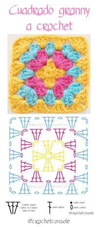 Cuadrado granny a crochet paso a paso Source by sucastroconti VEJA MAIS sucastroconti., Cuadrado granny a crochet paso a paso con video tutorial, # ✂❤ Crochet Potholder Patterns, Granny Square Crochet Pattern, Crochet Chart, Crochet Squares, Crochet Granny, Crochet Motif, Crochet Stitches, Knit Crochet, Doilies Crochet