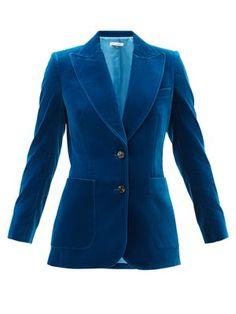 Red Velvet Jacket, Black Velvet Blazer, Blazers For Women, Jackets For Women, James Cotton, Bella Freud, Embellished Top, Cotton Velvet, Jacket Style
