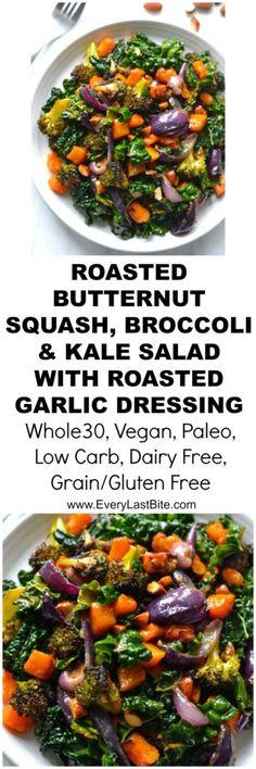 Butternut Squash, Broccoli & Kale Salad with Roasted Garlic Dressing Squash Salad, Kale Salad, Vegetable Salad, Spinach Salads, Detox Salad, Vegetable Dishes, Whole Food Recipes, Vegetarian Recipes, Dinner Recipes