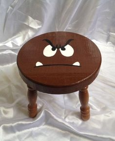 This Super Mario Bros Goomba Character Step would make me smile everytime I stand up! Nerd Room, Gamer Room, Sala Nerd, Deco Lego, Super Mario Room, Boy Room, Kids Room, Painted Furniture, Diy Furniture