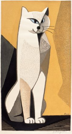 Inagaki Tomoo (Japan, 1902-1980), A Cat Sitting Against Yellow and Black Background, 20th century, Gift of Mr. and Mrs. Felix Juda (M.79.176.26) #cats