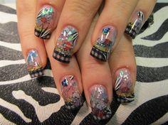 Ed Hardy nail tattoos by totalenvy2003 - Nail Art Gallery nailartgallery.nailsmag.com by Nails Magazine www.nailsmag.com #nailart