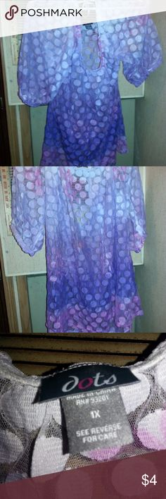 Womens Dots Blouse SzXL Actual Pictures of Womens Appointsments Blouse SzL.    Make an OFFER - I will either say YES or make a counter offer.  I (slscsi) have 1200+ Positive Transactions on eBay.  Products are in Excellent Condition & Free of Dirt, Holes, Rips or Stains. Dots Tops Camisoles