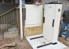 Home Elevator Photo Gallery - Country Home Elevator - CHE is serious about public service and community involvement. In cooperation with the Southwest Center for Independent Living, we provided and installed this vertical platform lift to allow a Forsythe homeowner wheelchair access.