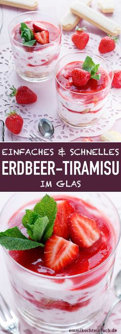 Strawberry Tiramisu in a Glass - A Dessert Dream - Emmikochteinf .- Erdbeer Tiramisu im Glas – Ein Dessert-Traum – emmikochteinfach Strawberry Tiramisu in a Glass – A Dessert Dream Quick Easy Desserts, No Cook Desserts, Italian Desserts, Healthy Dessert Recipes, Italian Recipes, Strawberry Tiramisu, Strawberry Desserts, Bon Dessert, Food And Drink