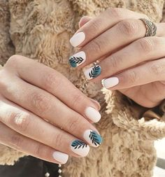 The Best White Summer Nail Ideas For Manicure | Easy and cute summer nails, summer nails designs acrylic almond, white summer nail ideas, and summer nail art designs to try in 2021: Tropical Beach Nails - Matte White and Green Nails | Find simple summer nails colors, summer nail inspo 2021 short, summer nails acrylic almond, summer nails acrylic short, and easy summer nail art ideas. #summernaildesigns #summernailart #summernailsacrylic #shortnails #summernails #summernailcolors… Western Nails, Romantic Nails, Cow Nails, Gel Nail Art Designs, Nails Only, Minimalist Nails, Cute Acrylic Nails, Stylish Nails, Perfect Nails