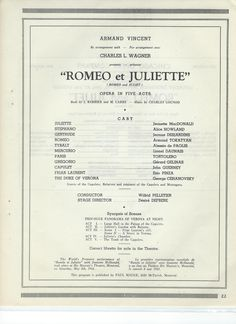 """This program states: """" The World's Premiere performance of """"Romeo et Juliette"""" with Jeanette MacDonald took place at His Majesty's Theatre, Montreal on Saturday, May 8th, 1943. - ESCANO COLLECTION"""