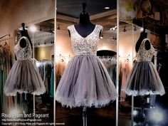 Gunmetal Short Homecoming Dress-Completely Beaded Nude Bodice and Straps-115BP0X2650