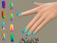 The Sims Resource: Watercolor marble nails by NataliS • Sims 4 Downloads