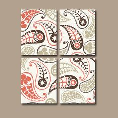 PAISLEY Wall Art Bedroom Wall Art Pottery Bathroom by TRMdesign