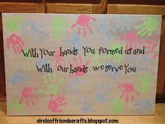 Church bathroom canvas - Made with children's hand prints from church this would be great to do in Sunday School Sunday School Rooms, Sunday School Classroom, Sunday School Activities, Church Activities, Sunday School Crafts For Kids, Toddler Church Crafts, Preschool Church Crafts, Sunday School Decorations, Children's Church Crafts