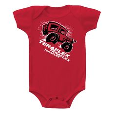 The TeraFlex 'Jeep' infant onesie features a large JK graphic on red.  6.0 oz. heavyweight 100% Cotton construction. 18-24 month.