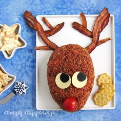 This Christmas serve a zesty RO*TEL Reindeer Cheese Ball with a blend of cheese, taco seasoning, tomatoes and green chilies.It's as cute as it is tasty! Christmas Eve Appetizers, Christmas Party Food, Christmas Breakfast, Holiday Desserts, Appetizers For Party, Holiday Treats, Christmas Fun, Christmas Foods, Xmas Party