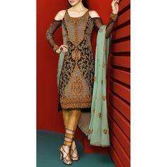 Dark Brown Embroidered Chiffon Dress Contact: (702) 751-3523 Email: info@pakrobe.com Skype: PakRobe