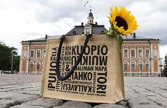 KUOPIO -juuttikassi | Ateljee Keltainen Talo Inspiration, Biblical Inspiration, Inspirational