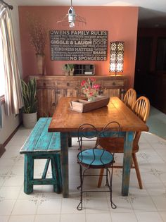 Dining Room   School Library Table, Soda Shop Chairs, Family Rules Sign By  Wright