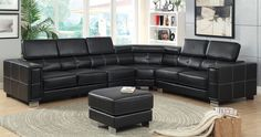 "Garzon Sectional Sofa With Ottoman CM6719  This large, black sectional has pneumatic gas lifts that allow for adjustable headrests. Fold them back all the way for a more sleek and modern look. The matching ottoman shares the same double stitching and chrome legs as the sectional, serving as a fine centerpiece.• Contemporary Style • Pneumatic Gas Lift Headrests • Ottoman Included • Chrome Legs • Black Bonded Leather Match DIMENSIONS:SECTIONAL W/ OTTOMAN [CM6719] SECTIONAL W/ CONSOLE:134 1/2""L…"