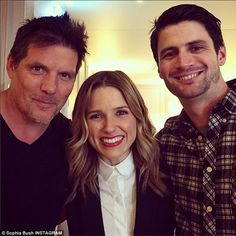 'My two favorite Scotts': The actress, who was known as feisty Brooke Davis, also cosied up toPaul Johansson (elft) and James Lafferty, who played father and son Dan and Nathan Scott, respectively